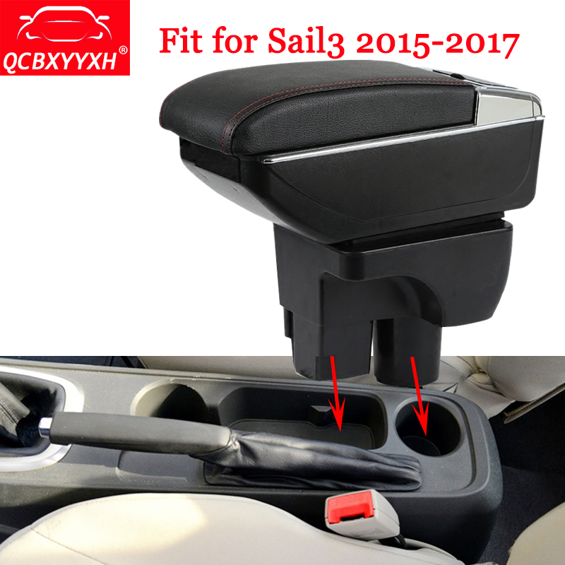 QCBXYYXH Car Styling ABS Car Armrest Box Center Console Storage Box Holder Case For Chevrolet Sail 3 2015-2017 Auto Accessories