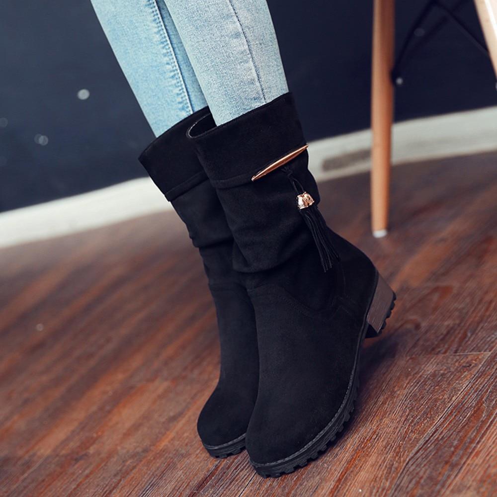Chaussures Botas Youyedian Femmes Occasionnels Mujer Noir Chaud Bottes rouge Slip Automne mollet Troupeau Fringe 2018 Mi Sur gris Femelle Rétro PPrwZAq