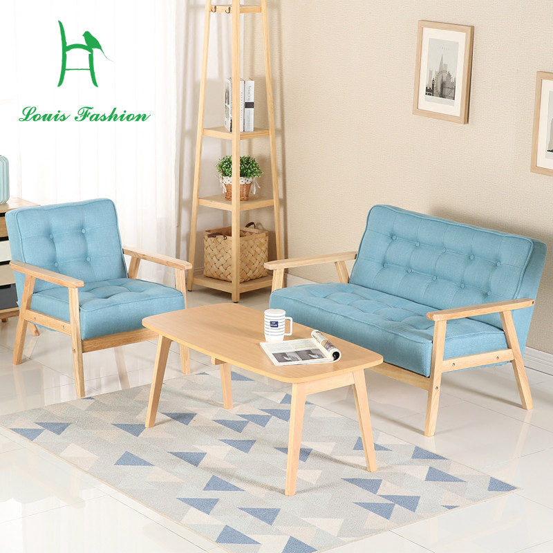 US $69.0 |Louis Fashion New European Style Small Apartment Living Room  Simple Sofa Chair Solid Wood Fabric PU Leather-in Living Room Chairs from  ...