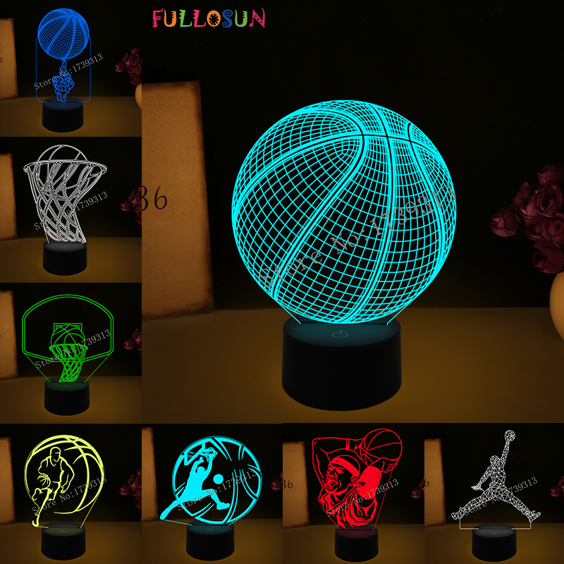 Basketball Light Lamp 7 Colorful Gradient 3D Visual Lamp Amazing LED Nightlights Novelty Lighting