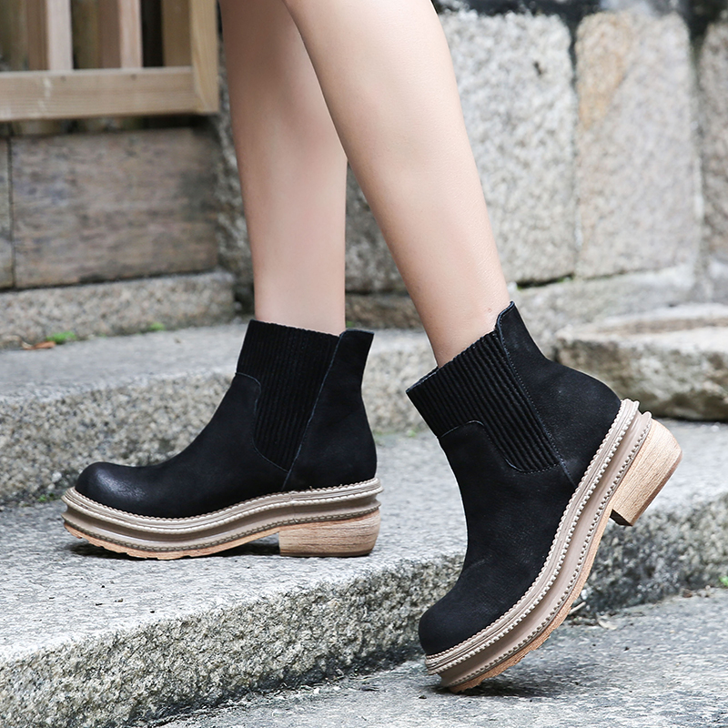 Platform Ankle Boots Shoes Woman Latest Block Heel Natural Nubuck Leather Lady Short Booties Elastic Band Female Black Boots