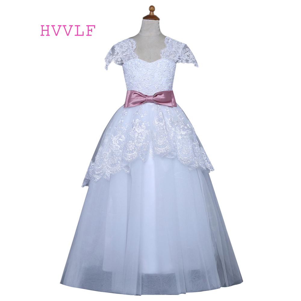 White 2019 Flower Girl Dresses For Weddings Ball Gown Cap Sleeves Tulle Lace Bow First Communion Dresses For Little Girls