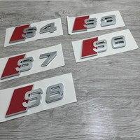 Chrome Sline S line Ontwerp S3 S4 S5 S6 S7 SQ3 SQ5 Embleem Logo Badge Achter Deksel Trim Styling Sticker Voor Audi A3 A4 A5 A6 A7 Q3 Q5