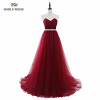 Dark Red Evening Dresses Net Pleat Beading Custom Made Lace Up Back Prom Party Gown With
