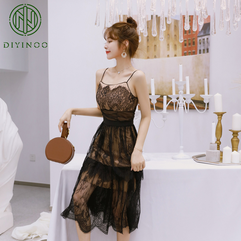 Et 2018 Sexy Club Noir Manches Femmes Bretelles Party Nouveau Élégant ligne Diyinoo A Sans Robes De Style Mode Fines dznxgqZ