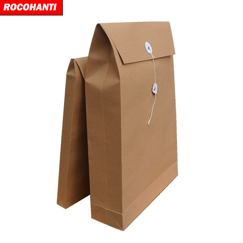 Cheap Two Double Pocket Manila Paper File Folder A4 Handmade Kraft Paper Folder B4 Blank Document Bag