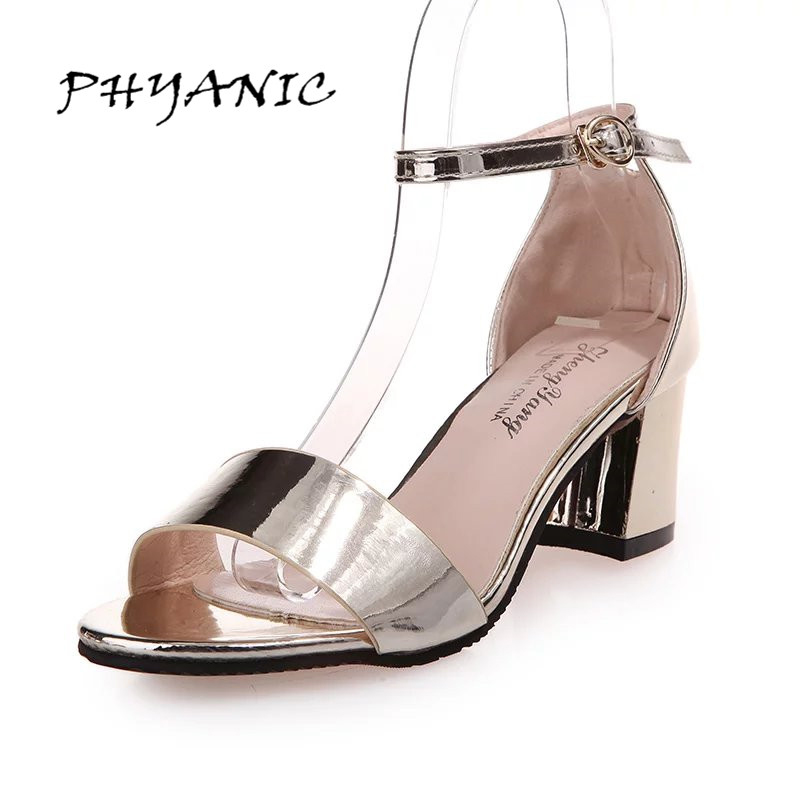 PHYANIC Fashion Women Metal Colors Thick High Heel Sandals Ankle Strap Gold Silver Dress Shoes Woman Summer Buckle Office Shoes size 30 43 woman ankle strap high heel sandals new arrival hot sale fashion office summer women casual women shoes p19266