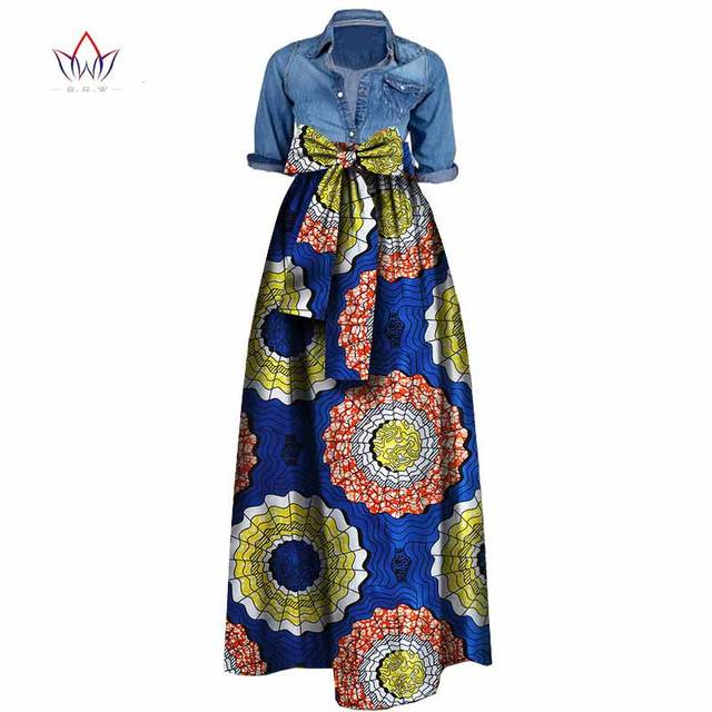 Autumn Woman Long Maxi Skirt for Women African Dashiki for women Bazin riche robe longue femme Plus Size Skirt natural wy1036