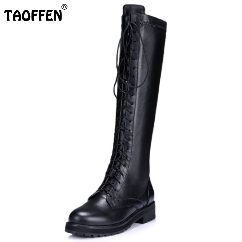 New Fashion Women Real Genuine Leather Knee Boots Woman Flat Martin Boot Female Round Toe Lace Up Shoes Size 33-40 зарядное устройство activ usb 1000 ma black 15682