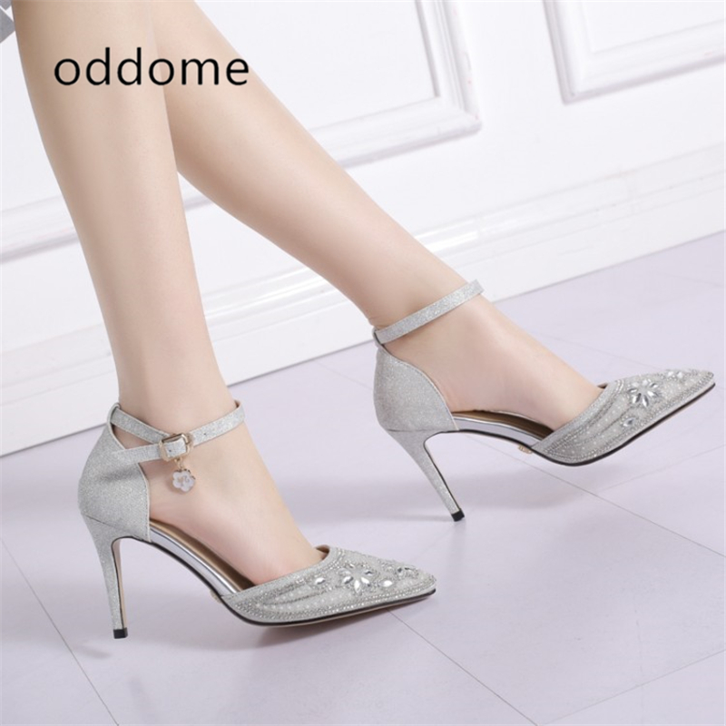 neue Sommer Schuhe Silber weibliche Sandalen Pailletten Tuch Strass - Damenschuhe - Foto 2