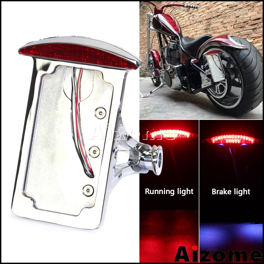 12V Frame Side Mount Motorcycle LED Tail Light Brake Running License Plate