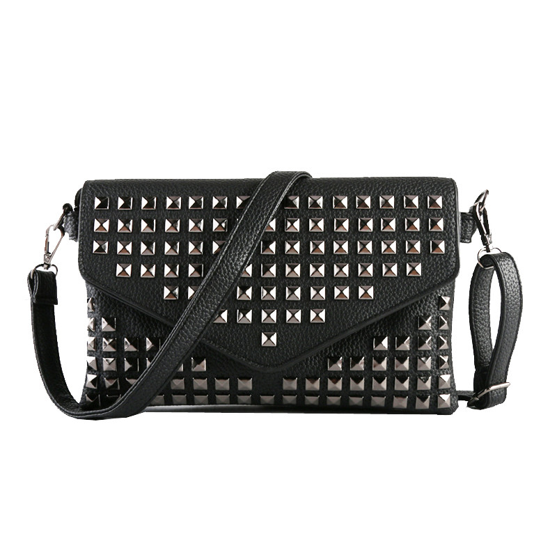 2016 New Women  Envelope Day Clutch Messenger Bags for Women Shoulder Bag Ladies Crossbody Handbags Rock Rivet Bags new stylish patent leather women messenger bags women handbags crocodile shoulder bags for woman clutch crossbody bag 6n07 06
