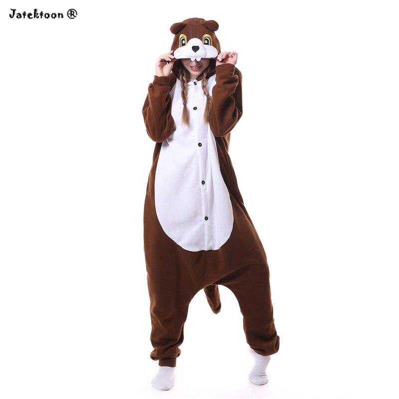 b25471f96a157 Kawaii Animal Mignon Café Écureuil Unisexe À Capuche Pyjamas Pour Hommes  Femmes Mujer Costume Cosplay Partie