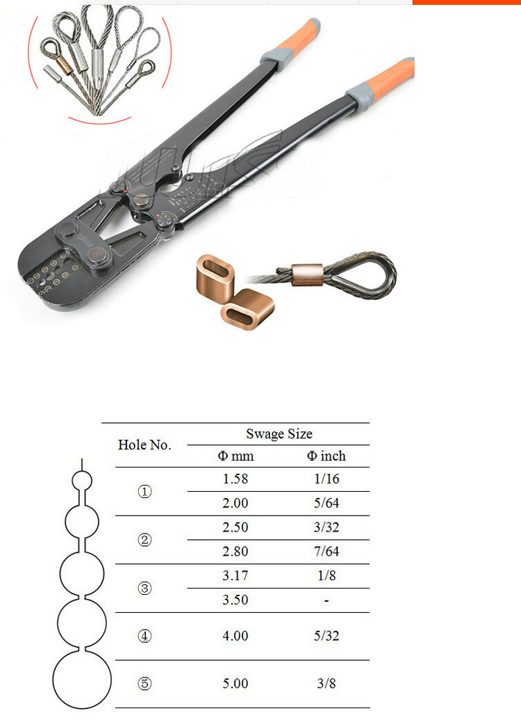 1PC/LOT Presszange Ferrule Press Crimping Tool+Steel Wire Rope Cut For 1.5-5.0MM Wire Rope And All Types Ferrule ледянка 1toy cut the rope cut the rope