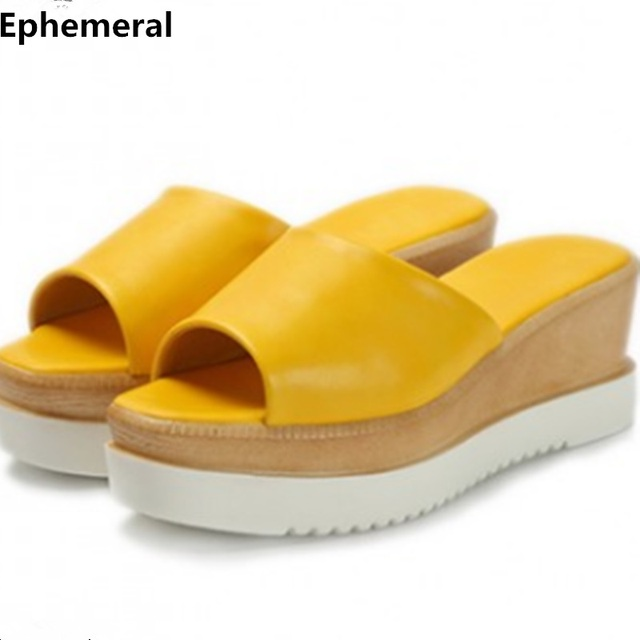 6db1cebeec2 Female slippers mujer with platform chunky heels thick sole shoes big size  43-4 women flat slides zapatos green yellow high heel