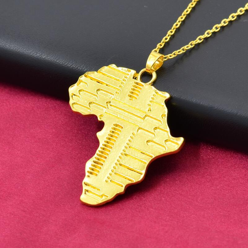 FENGLI Trendy Africa Map Gold Pendant Necklace for Men Geometric Chain Necklaces Women Unique Jewelry bijoux femme in Pendant Necklaces from Jewelry Accessories