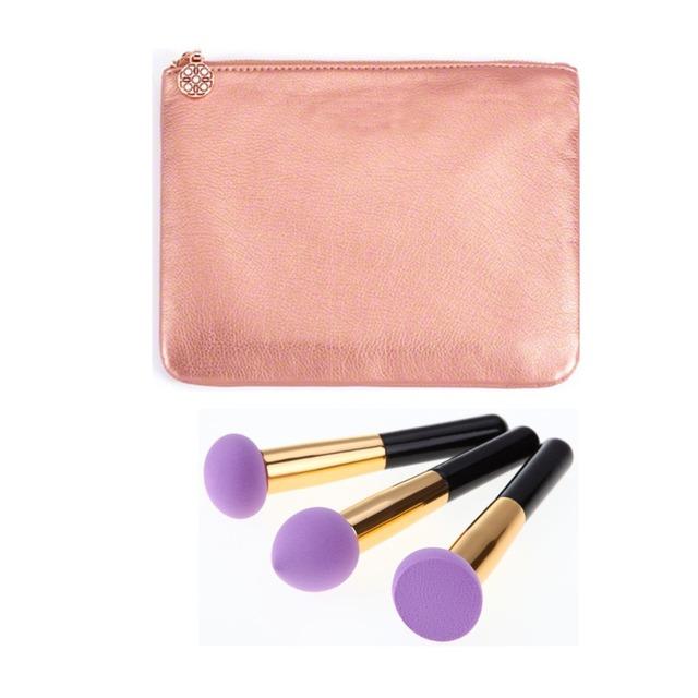 3 pcs Grande Esponja de Maquiagem BB Cream Foundation Pincel de Esponja Cosméticos Puff Flawless Pó Suave Em Forma de Puff Com Ferramenta de Maquiagem saco