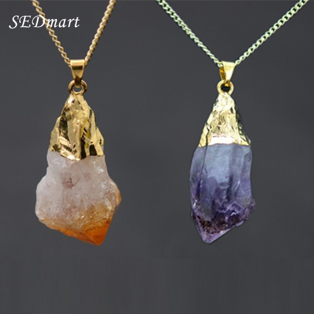 SEDmart Water Drop Amethyst Necklace Real Natural Stone Pendant Necklace Purple Yellow Crystal Women Necklace 2016 Fashion