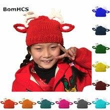 цены на BomHCS Cute Fawn Beanie Deer Antler Funny Hat Handmade Knitted Winter Thick Cap Gift  в интернет-магазинах
