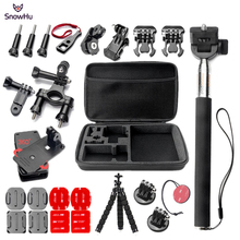 SnowHu for Gopro Accessories set for go pro hero 7 6 5  kit mount for xiaomi for yi 4k for eken h9 for SJCAM action camera GS68A soocoo sports action camera accessories kit for soocoo camera gopro hero sjcam xiaomi yi eken chest clamp hand mount large bag
