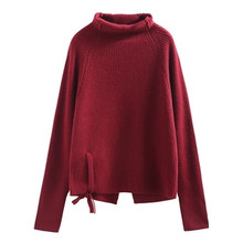9e4a3ca712 Fin Dreey pure cashmere turtleneck knit women lace up open hem solid loose  pullover