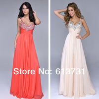 2014 Sexy Spaghetti Straps Sweetheart Beaded Coral Chiffon Prom Dresses Long Evening Gowns For Special Occasion Floor Length