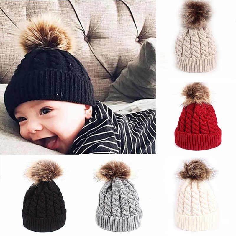 969dd292044 ... New Baby Winter Hat Cap Pompom Knitted Infant Kids Hat Newborn Baby  Girl Boy Hat Toddler ...