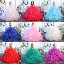 45CM White Elegant Handmade Wedding Princess Dress Doll Floral Doll Dress Clothes Clothing Multi Layers Dolls Girl Gift цена
