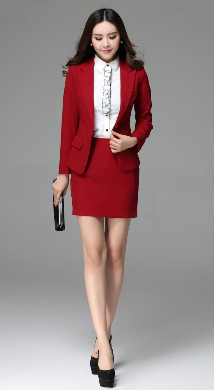 Hot Sale Formal Women Suit with Skirt Pant Shirt for Office Ladies ...
