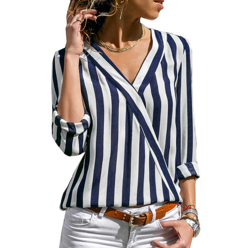 Striped Shirt Women 2019 Spring Autumn Long Sleeve V Neck Blouse Casual Print Top Tee Elegant Ladies Office Blouse Plus Size Top