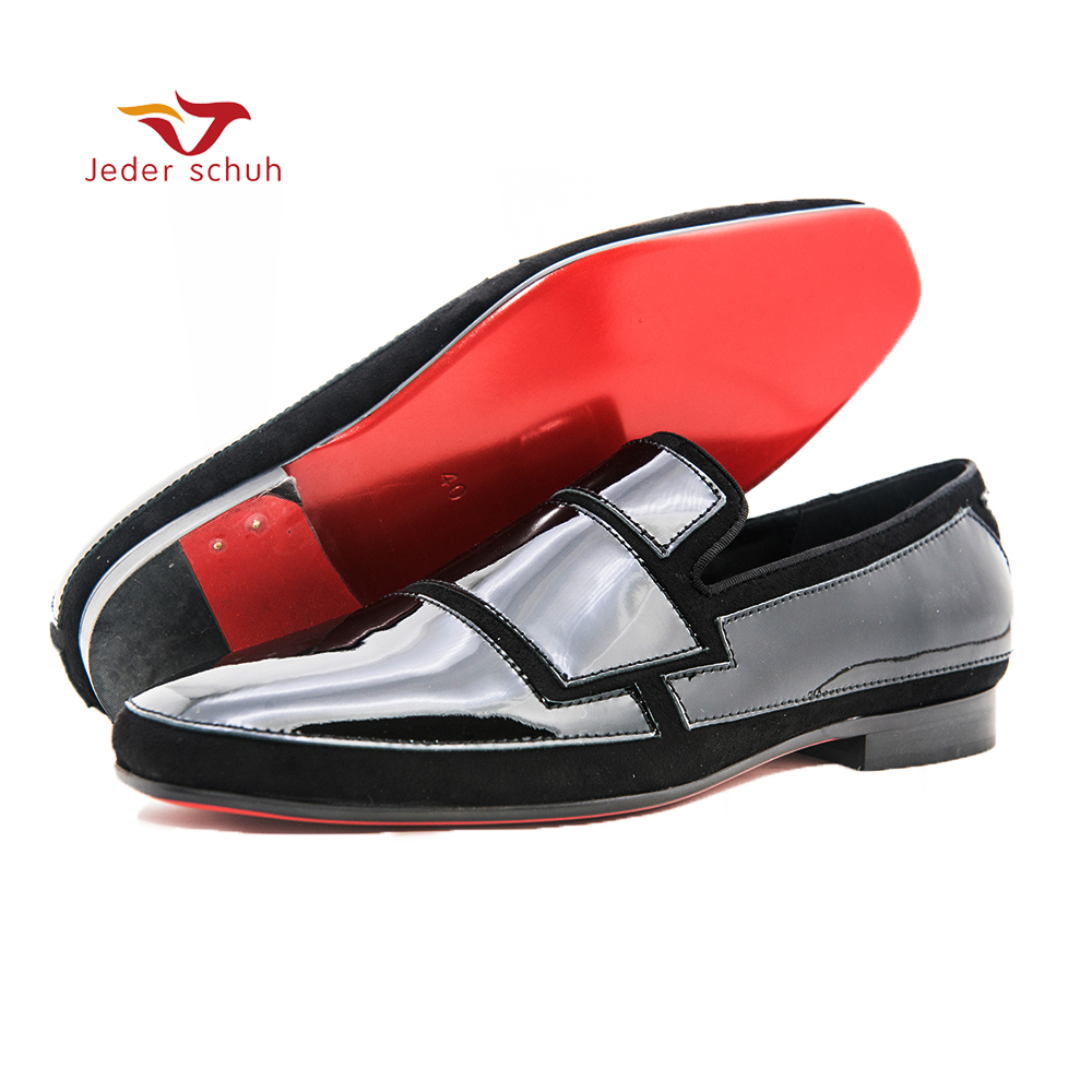 Jeder Schuh men shoes Black square lacquer design wedding and party shoes casual shoes men loafers Smoking slippers