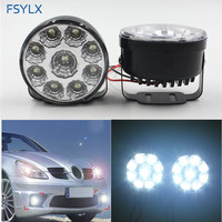 High Quality 9LED Round Daytime Running Light DRL With Automatic Switch Car Auto Circular 9 SMD