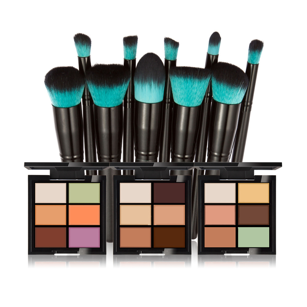 NEW Makeup Set  6 Colors Concealer Cream Contour Palette W / Professional 10 Pcs Makeup Brushes Bronzer Face Make-up maquiagem