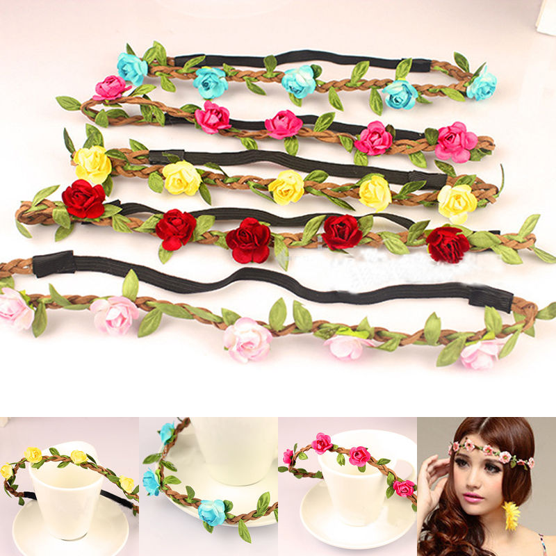New Fashion Female Headband Accessories Floral Headwear Flower Headbands Beach Womens Girls Hairband Fit Festival Party Wedding With The Most Up-To-Date Equipment And Techniques Apparel Accessories