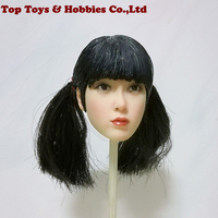 1/6 Republic of China Bangs Female Head Carved PVC Head Model Black Hair 12 Action Figure Collection Doll Toys Gift