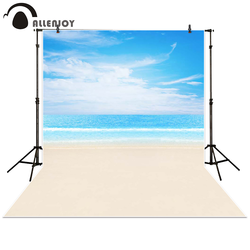 Allenjoy photography backdrop Ocean blue sky beach baby shower children background photo studio photocall 300cm 200cm about 10ft 6 5ft fundo harp moonlight candles3d baby photography backdrop background lk 1859