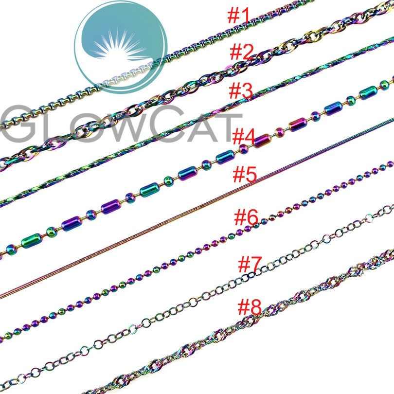 虹カラフルなステンレスビーズポップコーン水波イクパールリンクスネークチェーンの女性ガール子供ジュエリーメイキング