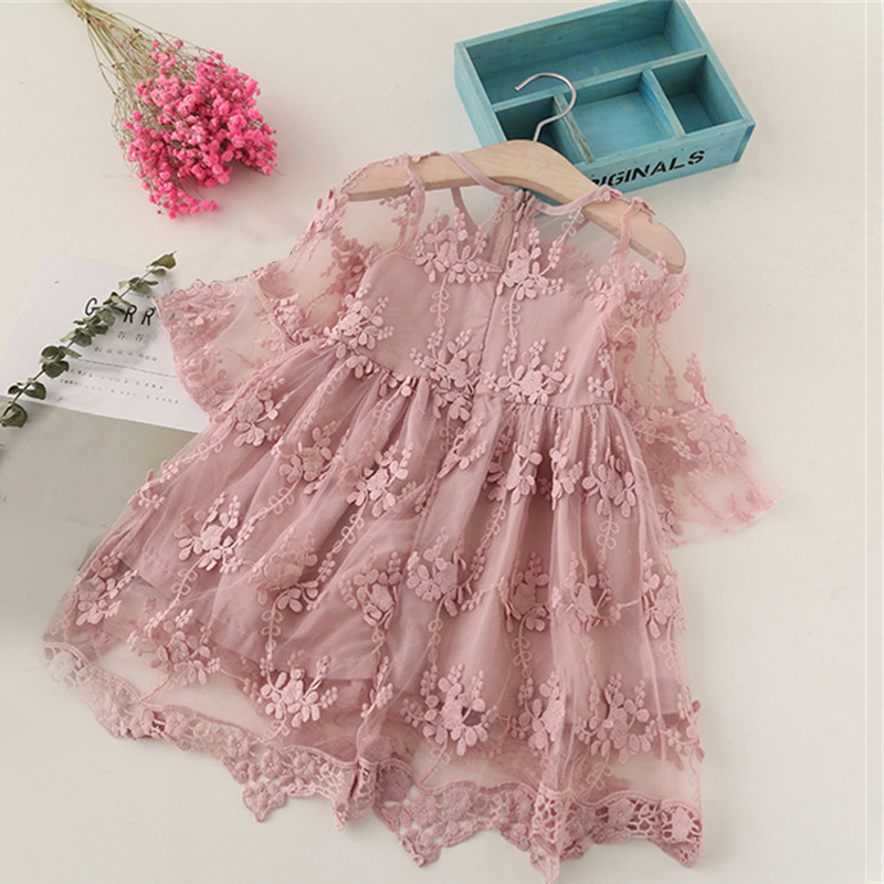 HTB15HCKaQT2gK0jSZPcq6AKkpXaD Girl Dress Kids Dresses For Girls Mesh Casual Lace Embroidery Princess Baby Girl Clothes Summer Sleeveless Dress Kids Clothes