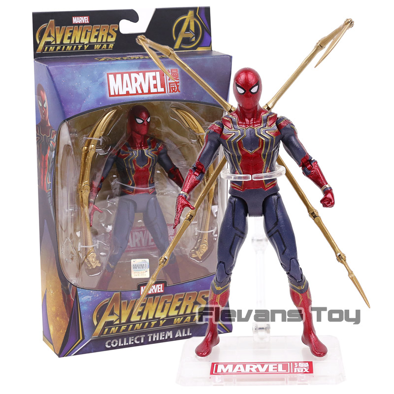 Marvel Spiderman Avengers Infinity War Iron Spider Spider-Man PVC Action Figure Collection Model Doll Toys Gift saintgi marvel avengers assemble iron man tony stark animated doll super heroes 15cm pvc action figure collection model toys