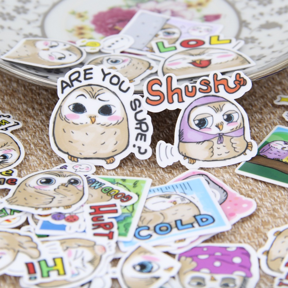40 Pcs Waterproof Wall Sticker For Car Motorcycle Refrigerator Luggage Skateboard Phone Little Owl English Expression Stickers