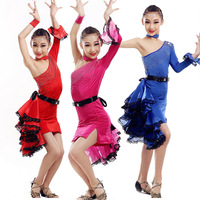 Red Blue Sequnined GirlsProfessional latin Dance dress Kids Jazz Performance Costumes competition skating Dancewear dresses
