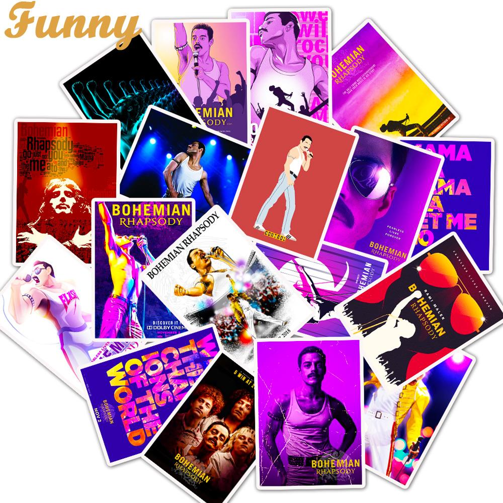 25Pcs/Lot Movie Queen Stickers Bohemian Rhapsody For Laptop Motorcycle Skateboard Luggage Decal Toy DIY Sticker