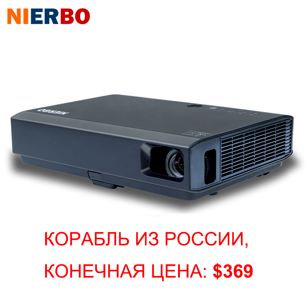 NIERBO DLP Android Projector 3D 1080P Wireless Portable Projector 3500 Lumens for Home Cinema Outside Use HDMI VGA USB Port poner saund dlp100w pocket hd portable dlp projector micro wireless multi screen mini led battery hdmi usb portable home cinema