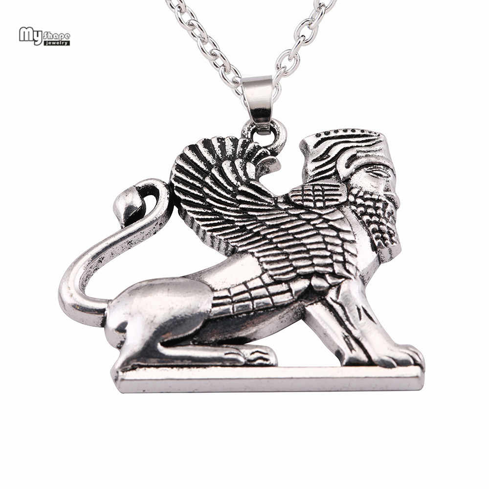 My Shape Ahura Mazda Culture Pandent Statement Necklace Men Persian Empire Religion Zoroastrianism Necklaces for Women Sphinx
