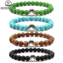 все цены на HOBBORN 8mm Natural Stone Men Bracelet Handmade Lovely Cat Paw Charm Women Bracelet Healing Reiki Prayer Balance Yoga Jewelry