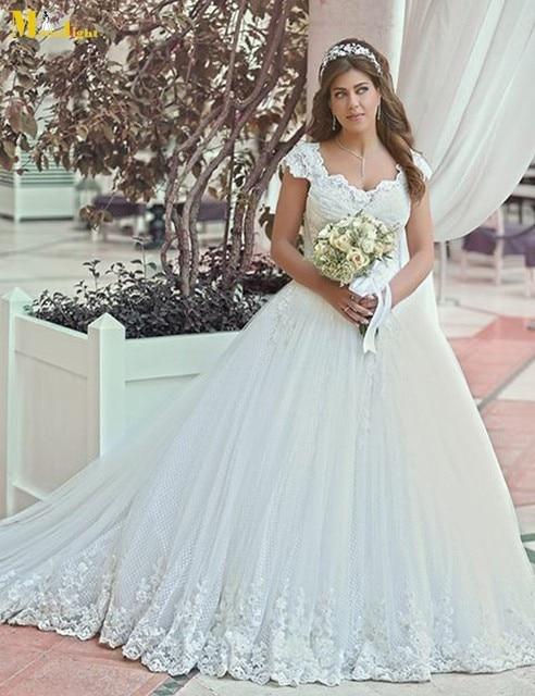 YW035 Romantic vestido de novia Ball Gown Cap Sleeve Bridal Gown ...