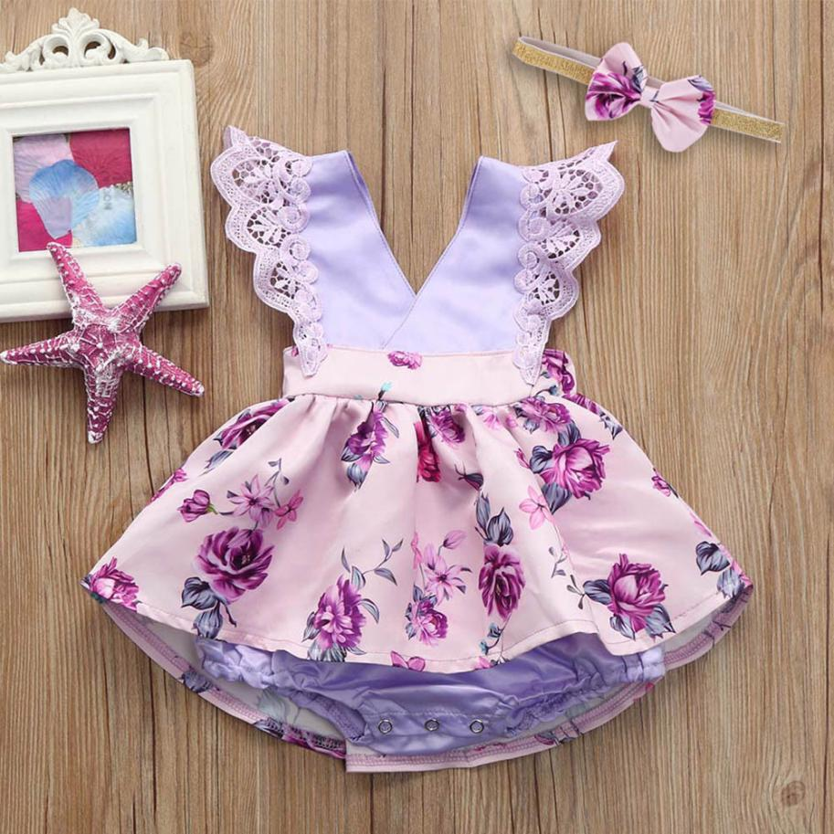 New Soft Cute Toddler Baby Gilrs Sleeveless Lace Ruched Romper Jumpsuit Headband Floral Ouifit Comfortable Touch High Quality