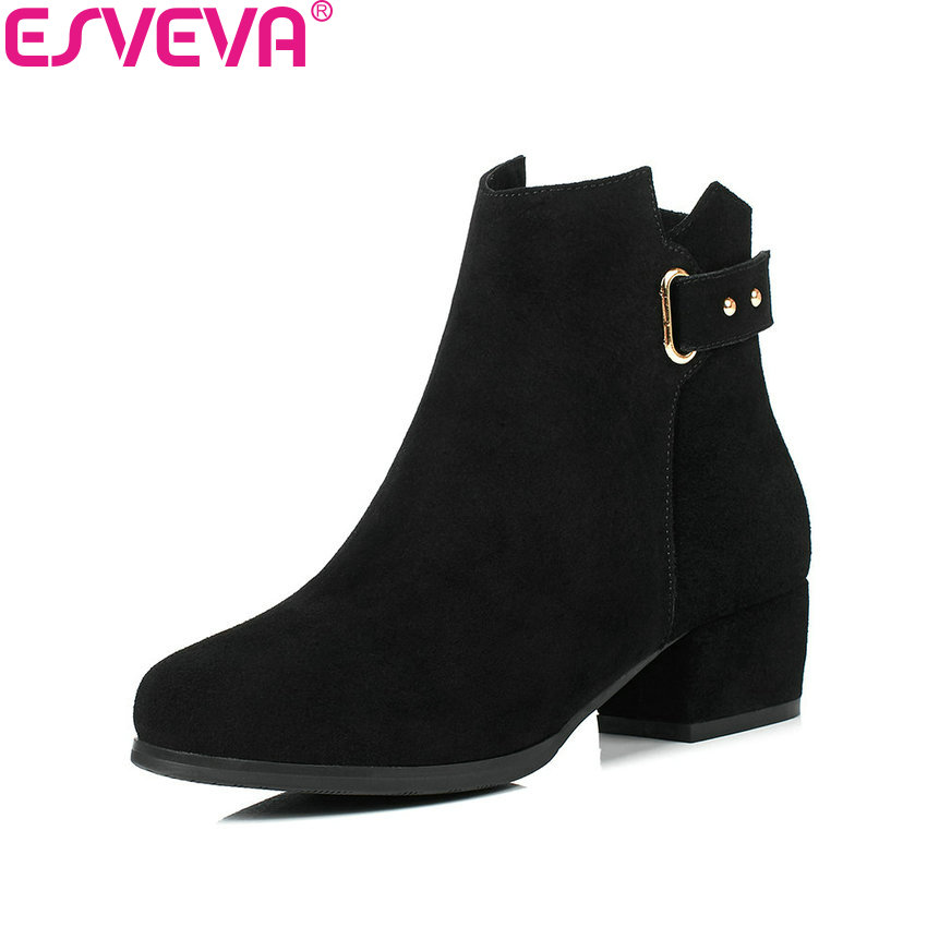 ESVEVA 2018 Boots Western Style Black Round Toe Square Med Heels Women Boots Chunky Ankle Boots Elegant Ladies Shoes Size 34-40 new arrival 34 40 2016 winter ankle boots for women med heels round toe platform solid casual ladies unique boots