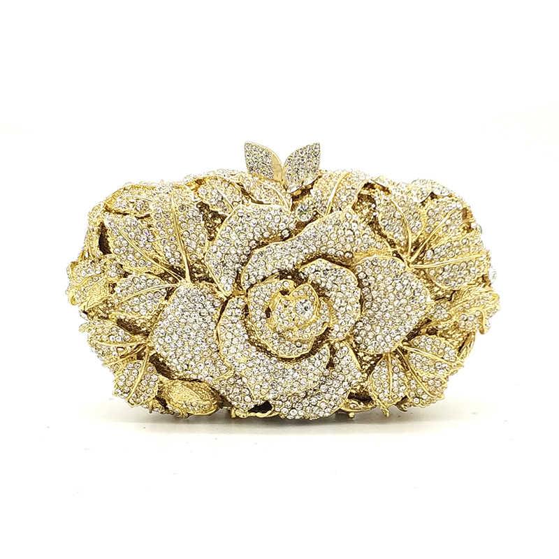 Свадебные кошелек для свадьбы, вечеринки Женская Вечеринка сумка Ромбики класса люкс, украшенные разноцветными кристаллами сцепления Элегантный цветок розы с украшением в виде кристаллов кошелек