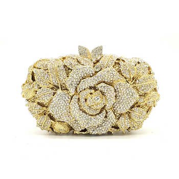 Bridal wedding party purse women evening party bag diamonds luxury colorful crystal clutch elegant rose flower crystal purse